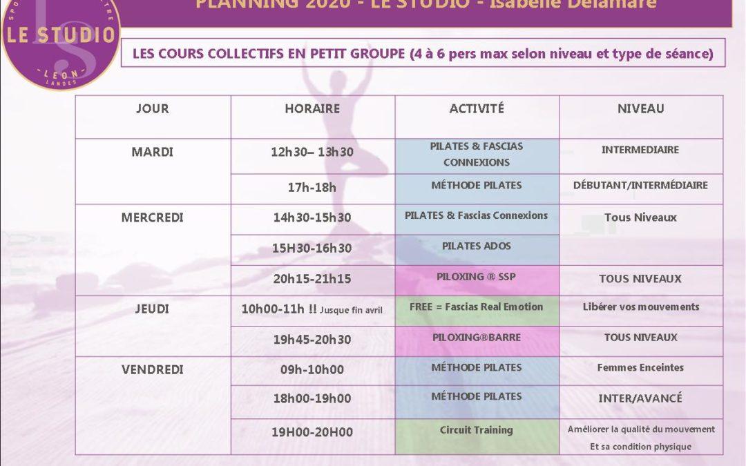 LE STUDIO LANDES A LÉON Le Planning des cours co en petit groupe (small group training)