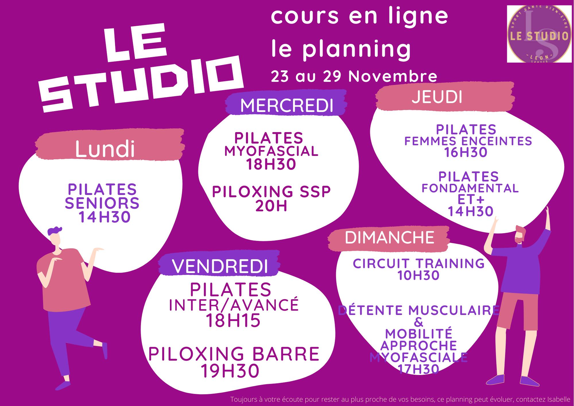 Pilates cours en ligne et en live du23 au 29 novembre - Class Schedule Le Studio Landes, sport santé bien-être